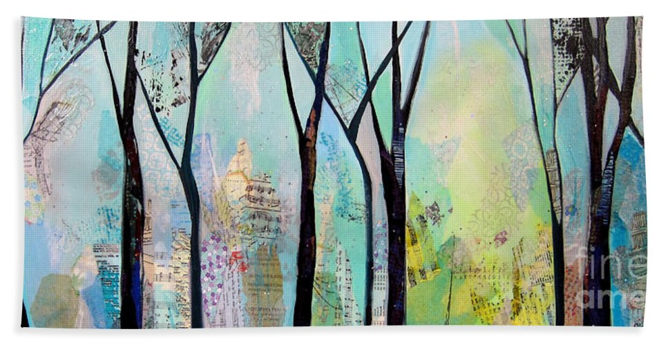 Winter Hand Towel featuring the painting Winter Wanderings II by Shadia Derbyshire