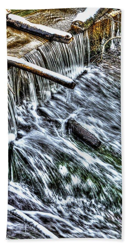 Sharp Bath Sheet featuring the photograph Winter Waterfall 2 by Nick Field