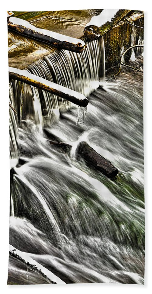 Sharp Hand Towel featuring the photograph Winter Waterfall by Nick Field