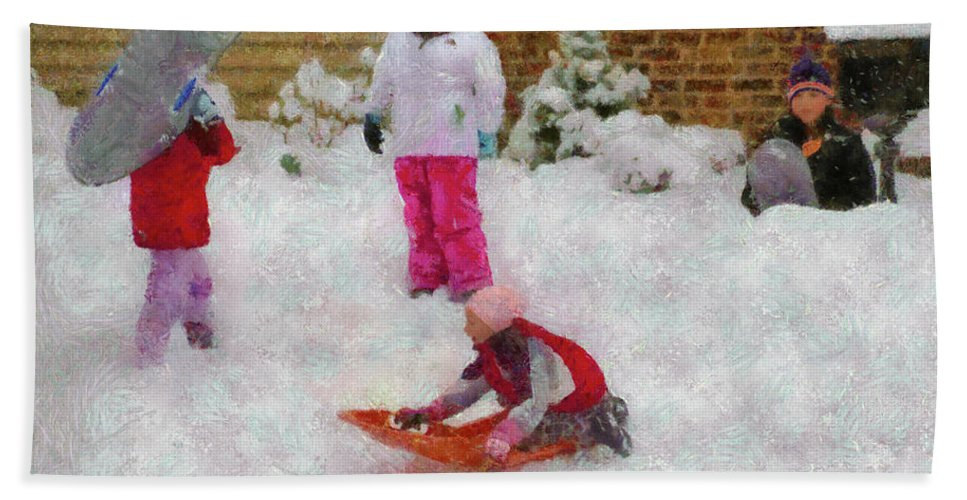 Snow Bath Sheet featuring the photograph Winter - Winter Is Fun by Mike Savad