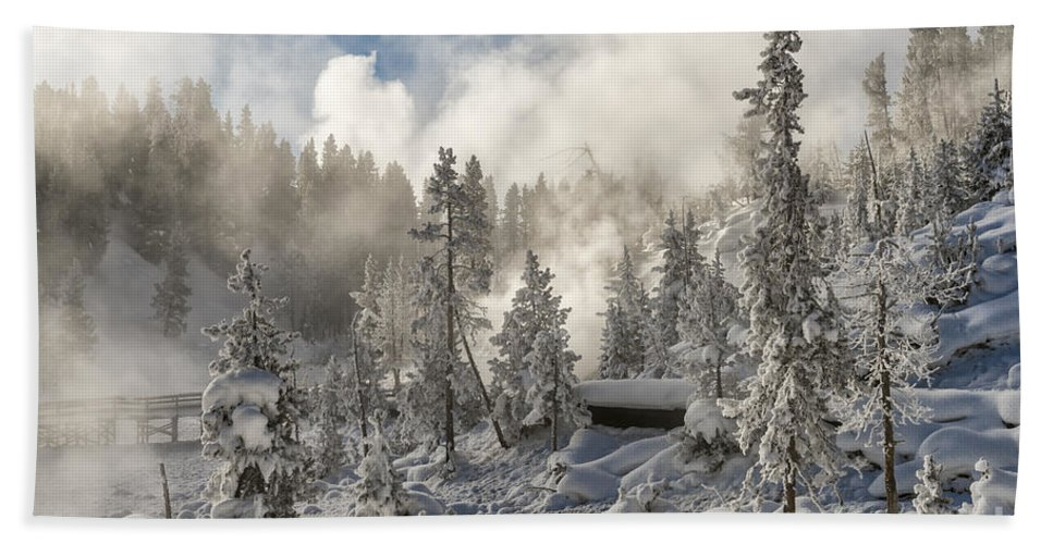 Landscape Hand Towel featuring the photograph Winter Wonderland - Yellowstone National Park by Sandra Bronstein
