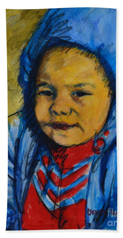 Child Bath Sheet featuring the painting Winter's Child by Charles M Williams