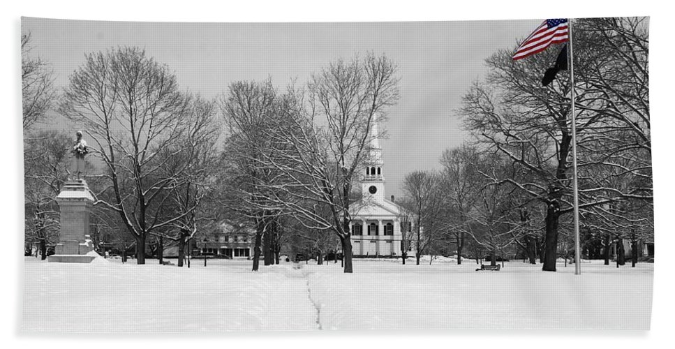 Guilford Green Bath Sheet featuring the photograph Winter's Coming by Catie Canetti