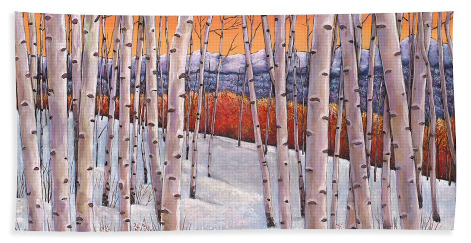 Autumn Aspen Bath Towel featuring the painting Winter's Dream by Johnathan Harris