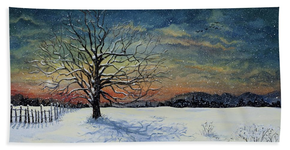Oak Tree Bath Towel featuring the painting Winters Eve by Mary Palmer