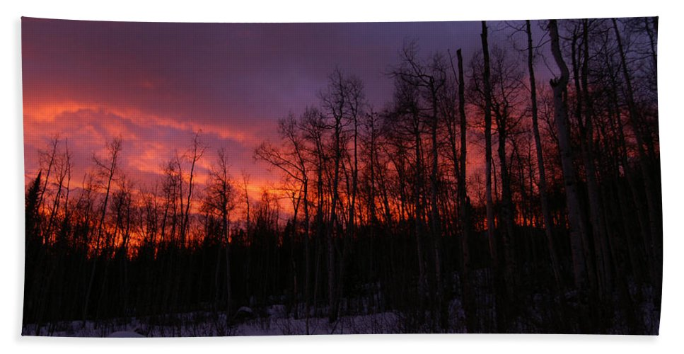 Colorado Bath Sheet featuring the photograph Winter's Fire by Jeremy Rhoades