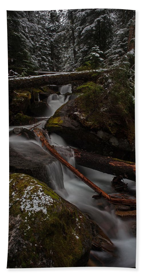 Stream Hand Towel featuring the photograph Winters Stream Flow by Mike Reid