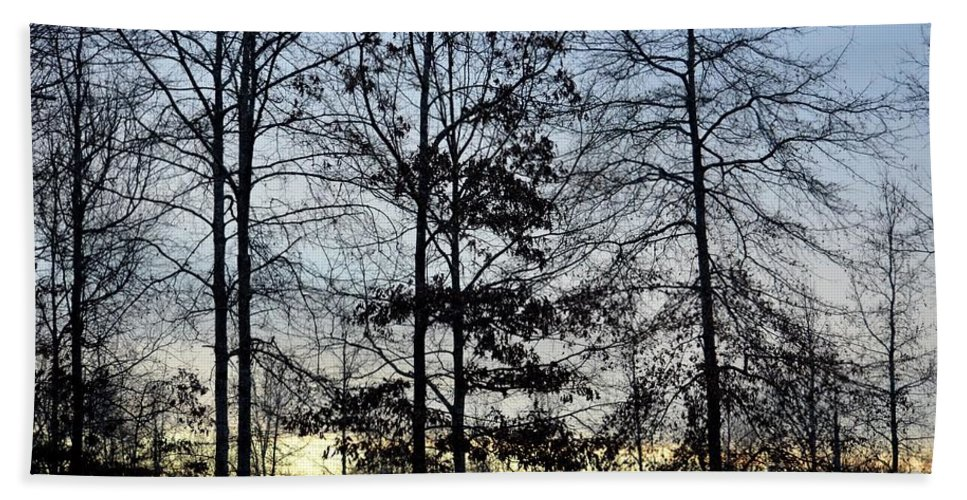 Winter's Trees At Dusk Hand Towel featuring the photograph Winter's Trees At Dusk by Maria Urso