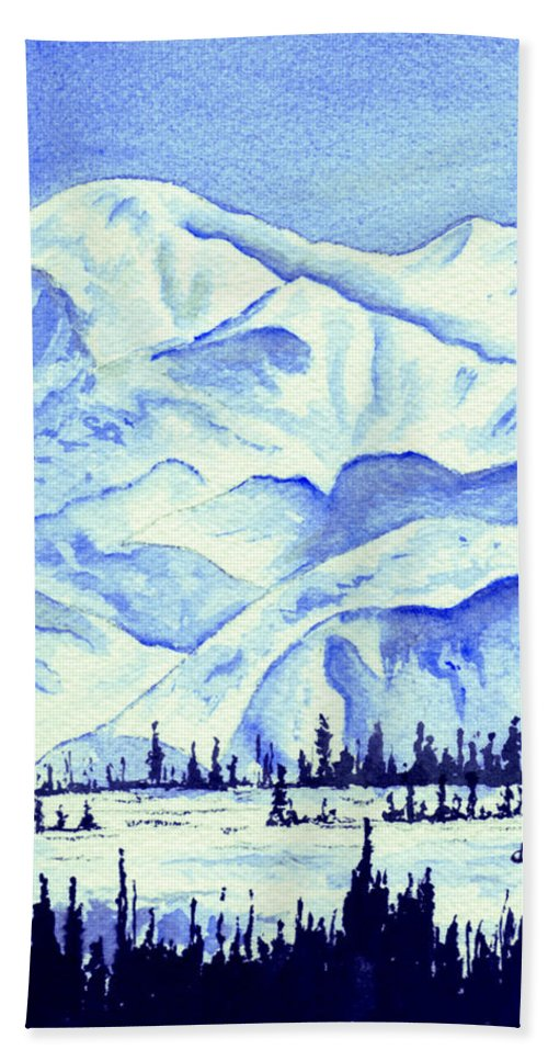 Landscape Bath Towel featuring the painting Winter's White Blanket by Brenda Owen