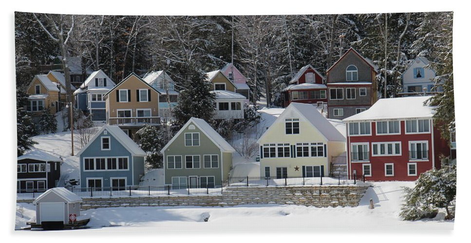 Nh Hand Towel featuring the photograph Wintery Alton Bay Nh by Jeffrey Akerson
