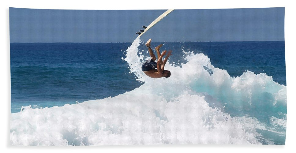 Surfing Hand Towel featuring the photograph Wipe Out by Athala Carole Bruckner