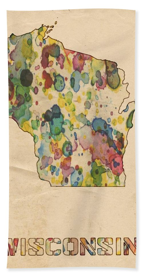 Wisconsin Hand Towel featuring the painting Wisconsin Map Vintage Watercolor by Florian Rodarte