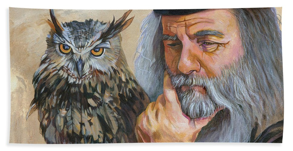 Wisdom Hand Towel featuring the painting Wise Guys by J W Baker