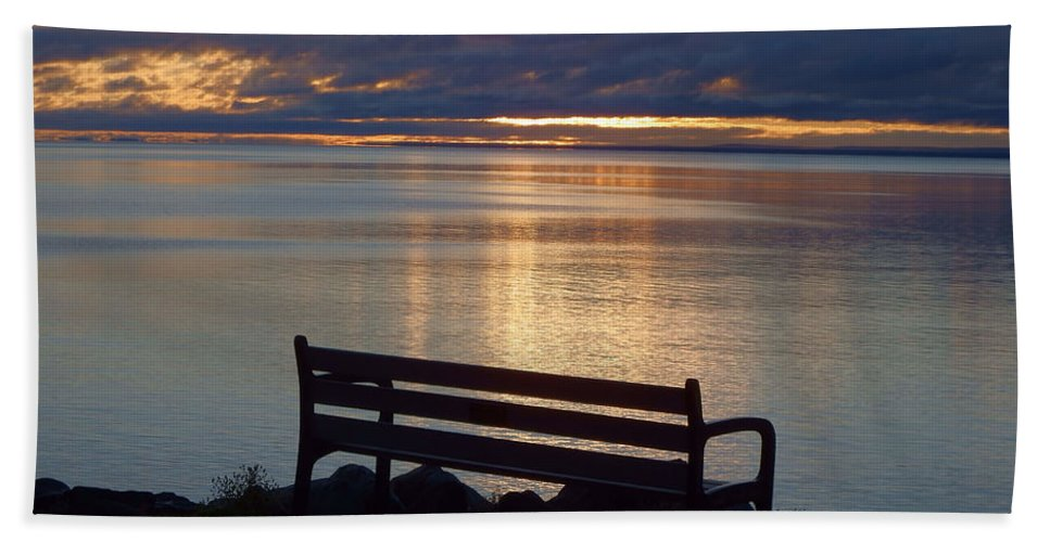 Lake Superior Hand Towel featuring the photograph Wish You Were Here by Alison Gimpel