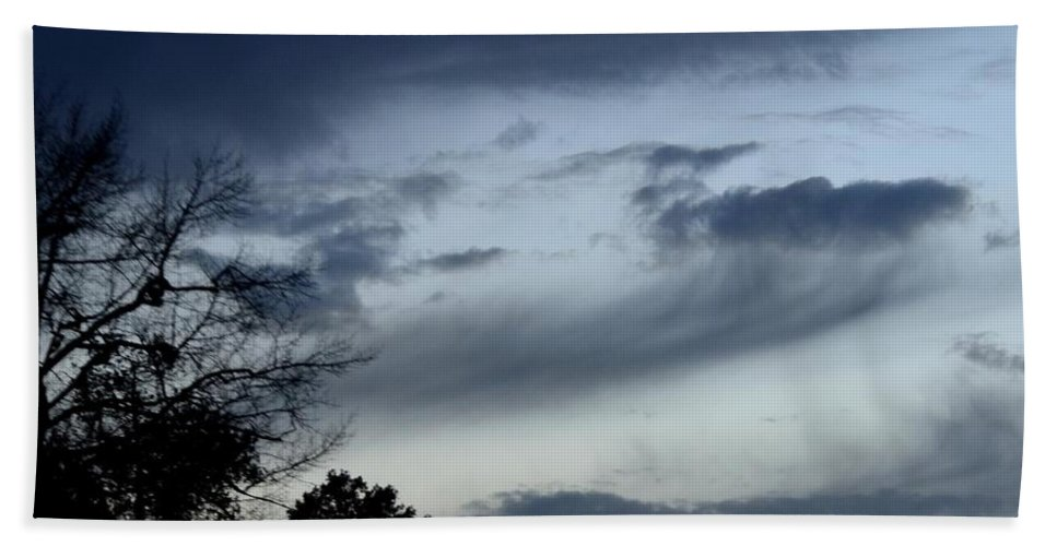 Wispy Clouds One December's Eve Bath Sheet featuring the photograph Wispy Clouds One December's Eve by Maria Urso