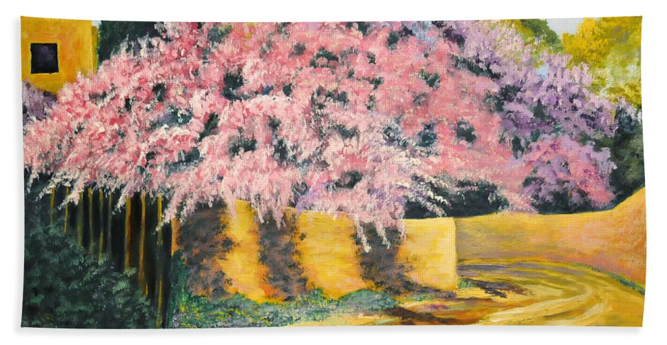 Wisteria Tree Bath Sheet featuring the painting Wisterias Santa Fe New Mexico by Barney Napolske