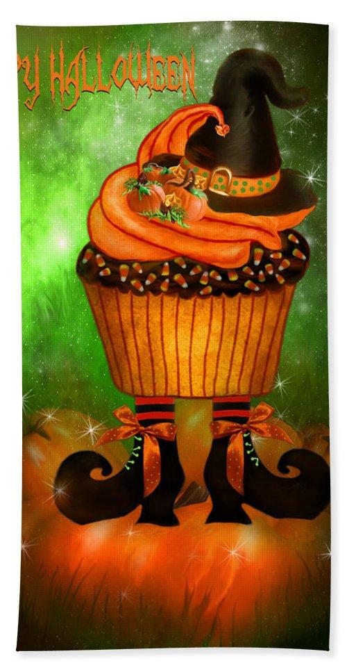 Halloween Art Bath Sheet featuring the mixed media Witch Cupcake 4 by Carol Cavalaris