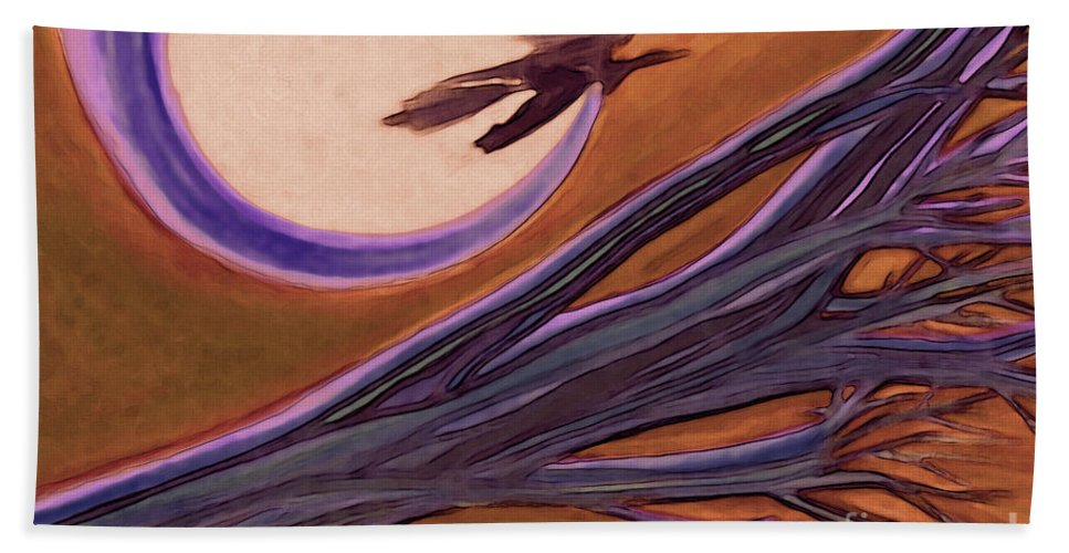 First Star Art Bath Sheet featuring the drawing Witches' Branch Purple by First Star Art