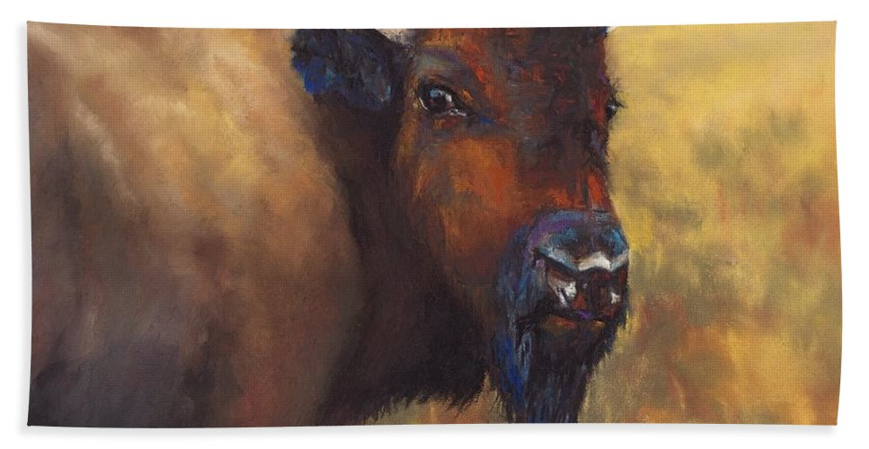 Bison Hand Towel featuring the painting With Age Comes Beauty by Frances Marino
