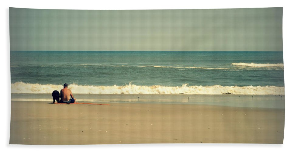 Feature Hand Towel featuring the photograph With My Buddy At The Beach by Paulette B Wright