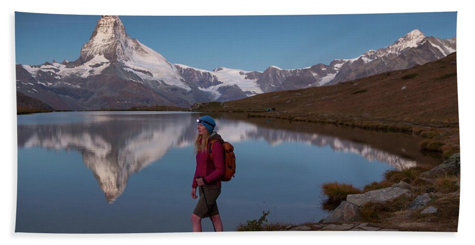 Zermatt Hand Towel featuring the photograph With The Matterhorn In The Background by Menno Boermans