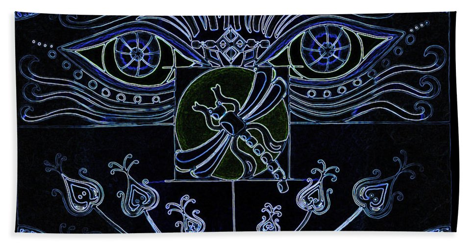 Blue Bath Sheet featuring the digital art Within The Darkness by Teri Schuster