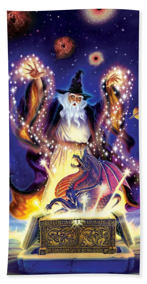 wizard dragon spell hand towel for sale by andrew farley