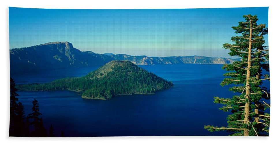 Photography Hand Towel featuring the photograph Wizard Island In Crater Lake, Oregon by Panoramic Images
