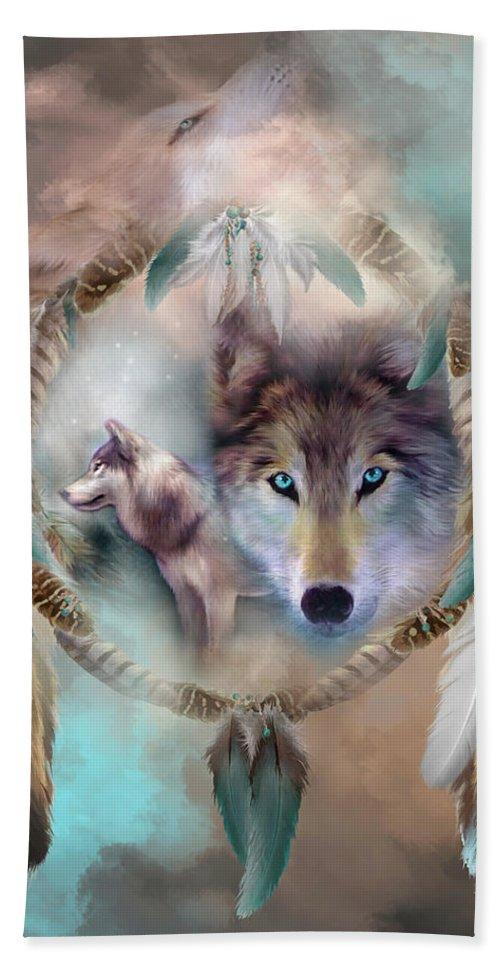Carol Cavalaris Bath Towel featuring the mixed media Wolf - Dreams Of Peace by Carol Cavalaris