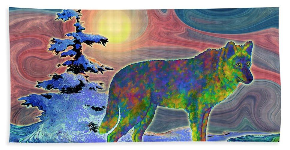 Wolf Gaze Bath Sheet featuring the painting Wolf Gaze by Teresa Ascone
