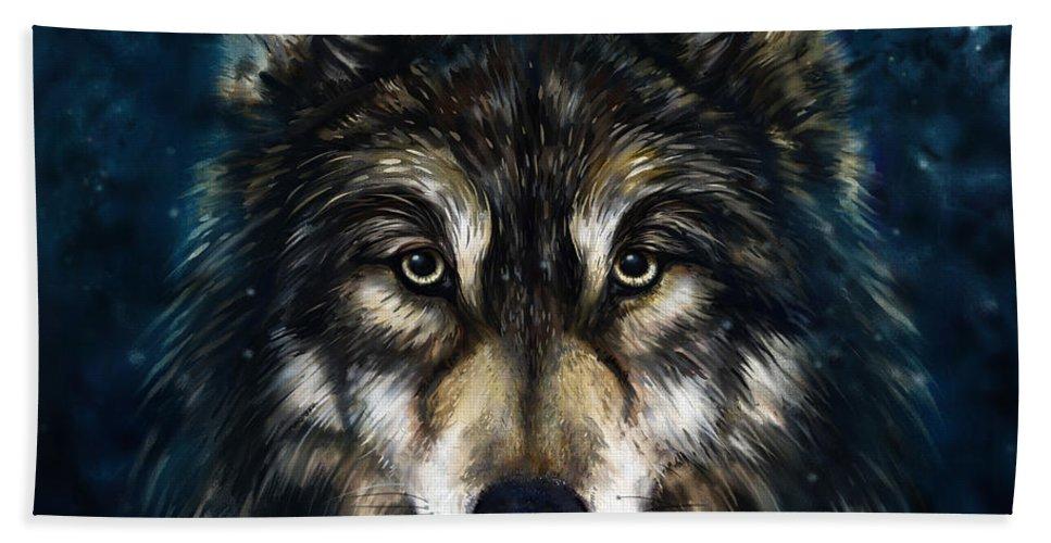 Wolf Bath Sheet featuring the painting Wolf Head by Marcin Moderski