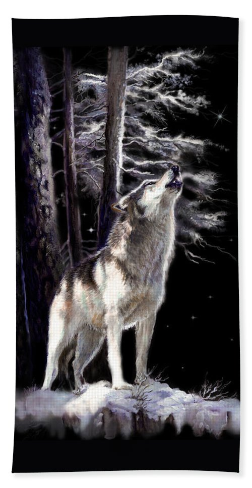 Original Wildlife Acrylic Painting By Gina Femrite Hand Towel featuring the painting Wolf Howling Memory by Regina Femrite