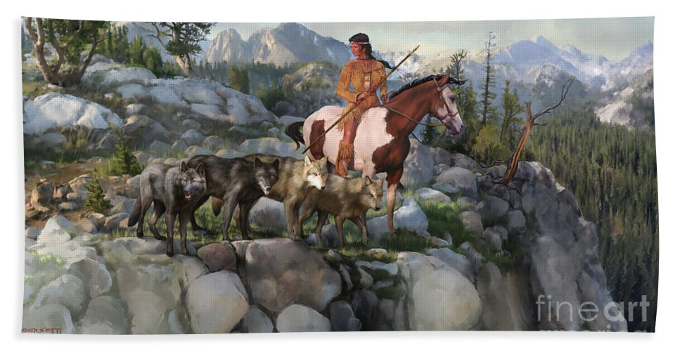 Idaho Bath Sheet featuring the painting Wolf Maiden by Rob Corsetti