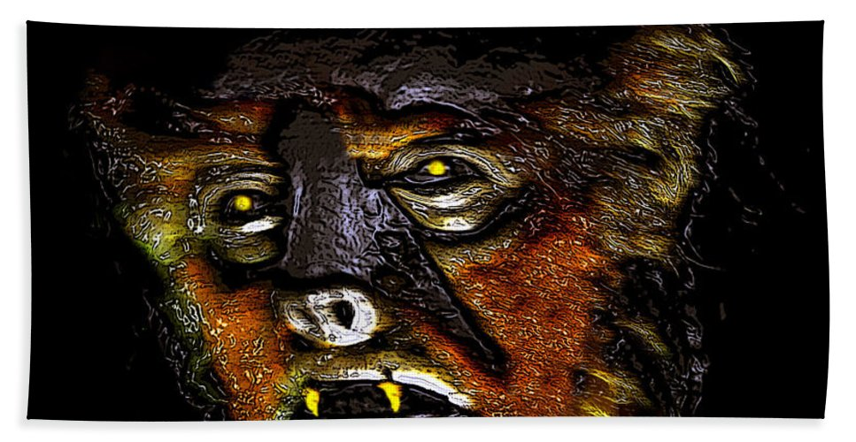 Wolf Man Hand Towel featuring the painting Wolf Man Original Work One by David Lee Thompson