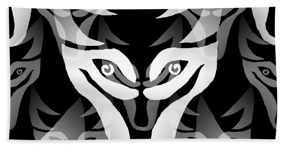 Wolf Bath Sheet featuring the digital art Wolf Mask by Barbara Moignard