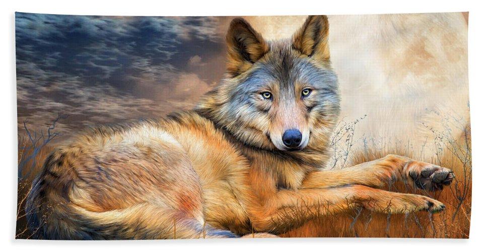 Carol Cavalaris Bath Sheet featuring the mixed media Wolf - Spirit Of Truth by Carol Cavalaris