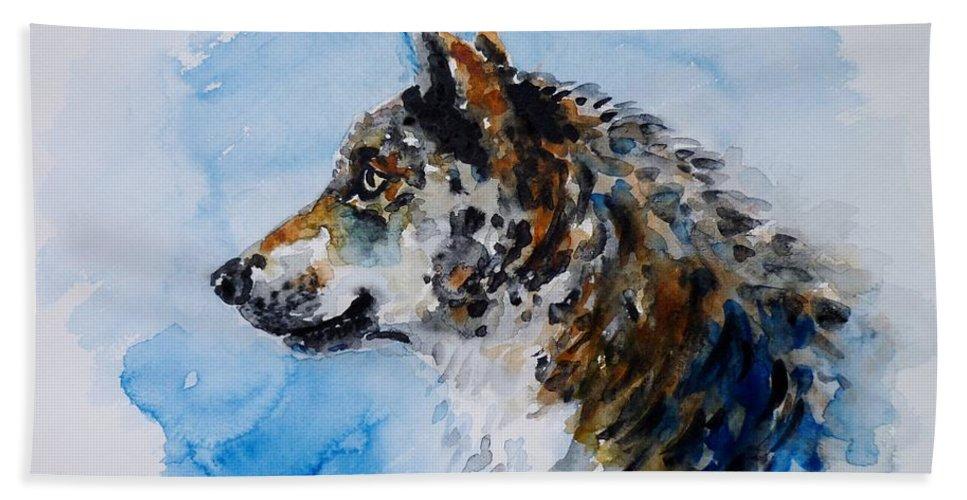 Wolf Hand Towel featuring the painting Wolf by Zaira Dzhaubaeva