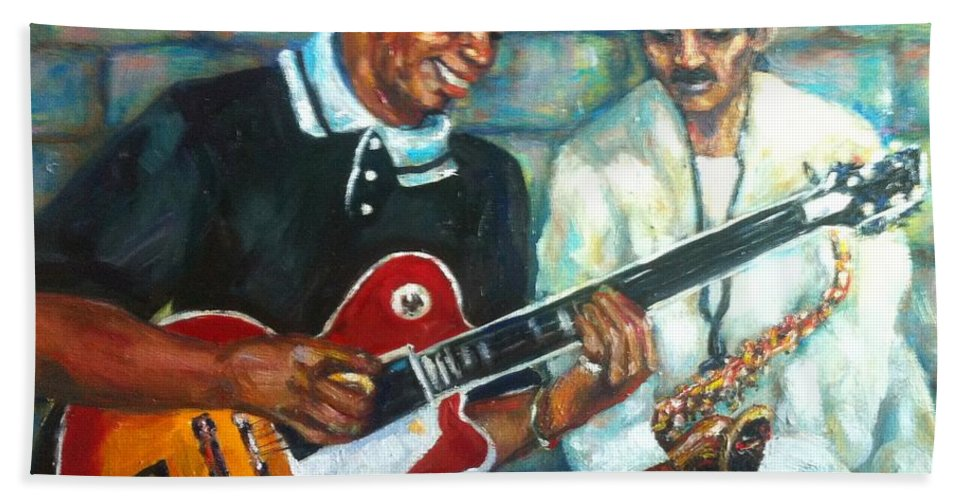 Guitar Bath Sheet featuring the painting Wolfman by Beverly Boulet