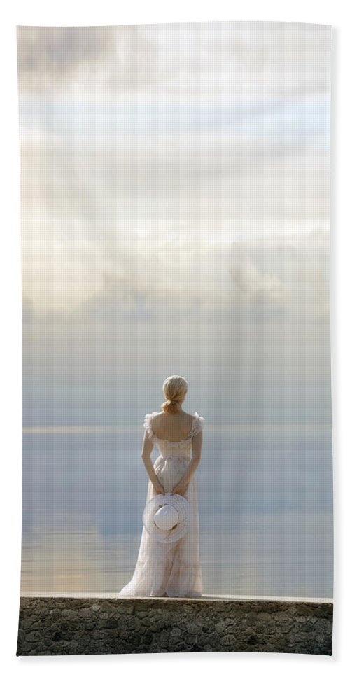 Woman Bath Sheet featuring the photograph Woman At The Sea by Joana Kruse