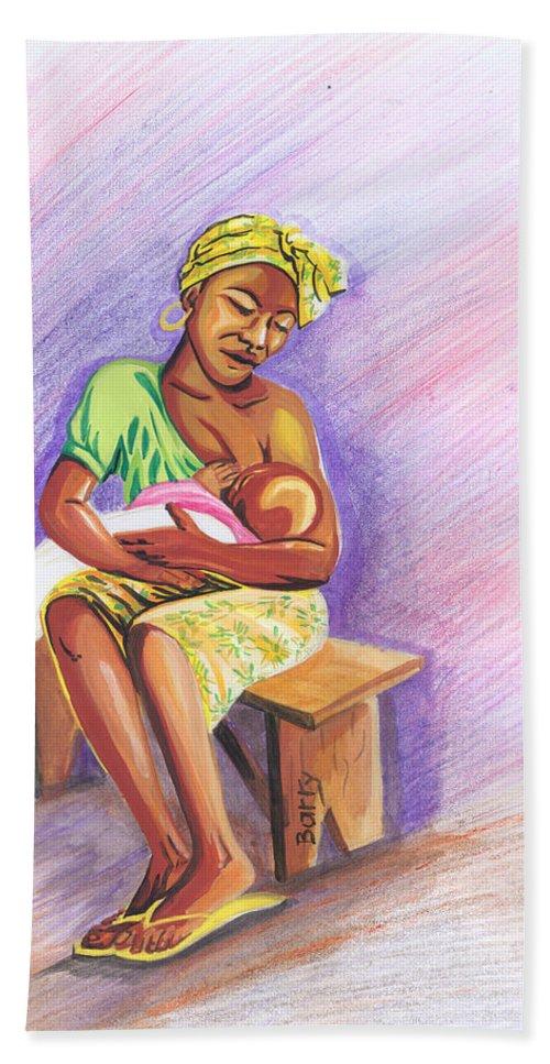 Portraits Hand Towel featuring the painting Woman Breastfeeding Bay In Rwanda by Emmanuel Baliyanga