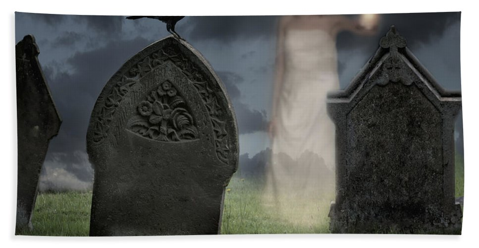 Halloween Bath Sheet featuring the photograph Woman Haunting Cemetery by Amanda Elwell