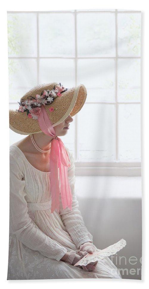 Regency Bath Sheet featuring the photograph Woman In A Regency Period Empire Line Dress With Straw Bonnet Si by Lee Avison