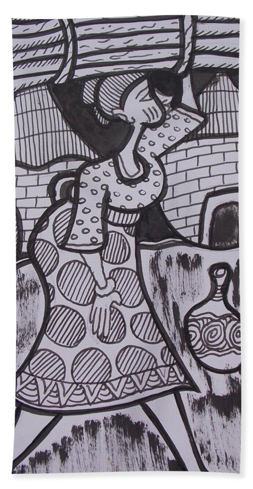 Woman Carrying Firewood On Her Head Hand Towel featuring the drawing Woman Is Coming From The Farm With Firewood On Her Head by Okunade Olubayo