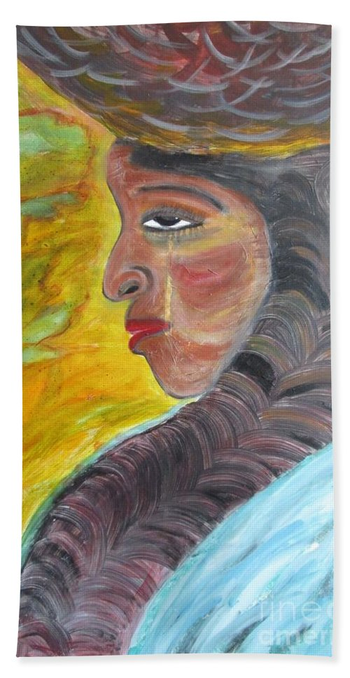 Woman Of Color Bath Sheet featuring the painting Woman Of Substance by Janet Lilethia Harvey