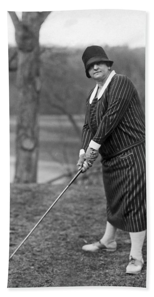 1 Person Bath Sheet featuring the photograph Woman Ready To Play Golf by Underwood Archives