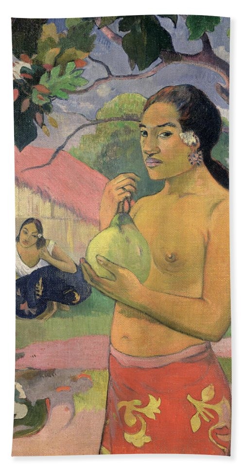 Ea Haere Ia Oe Hand Towel featuring the painting Woman With Mango by Paul Gauguin