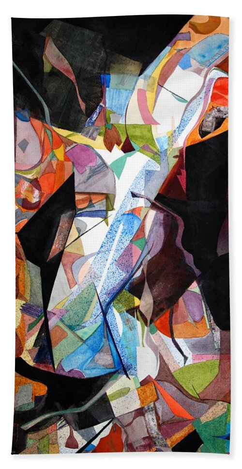 Abstract Bath Sheet featuring the painting Womansong by Rebecca Zdybel