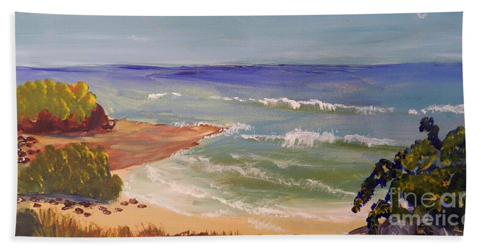 Impressionism Bath Sheet featuring the painting Wombarra Beach by Pamela Meredith