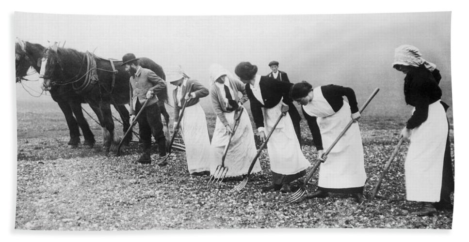 1035-842 Bath Towel featuring the photograph Women Learning Farming by Underwood Archives