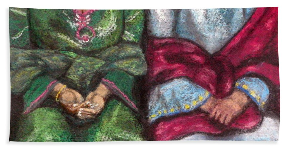Women Hand Towel featuring the pastel Women Wearing Shawls II by Aurorah Kelevh